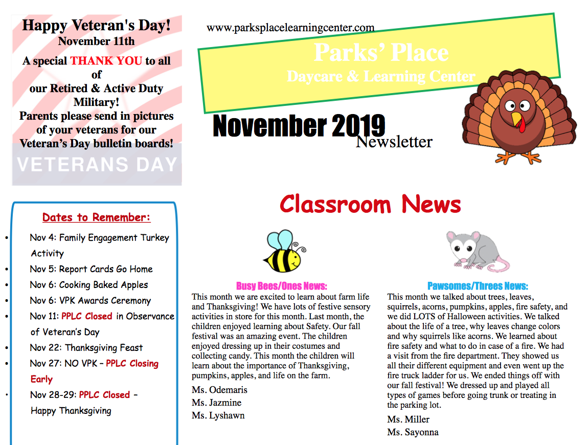Parks Place November Newsletter 2019